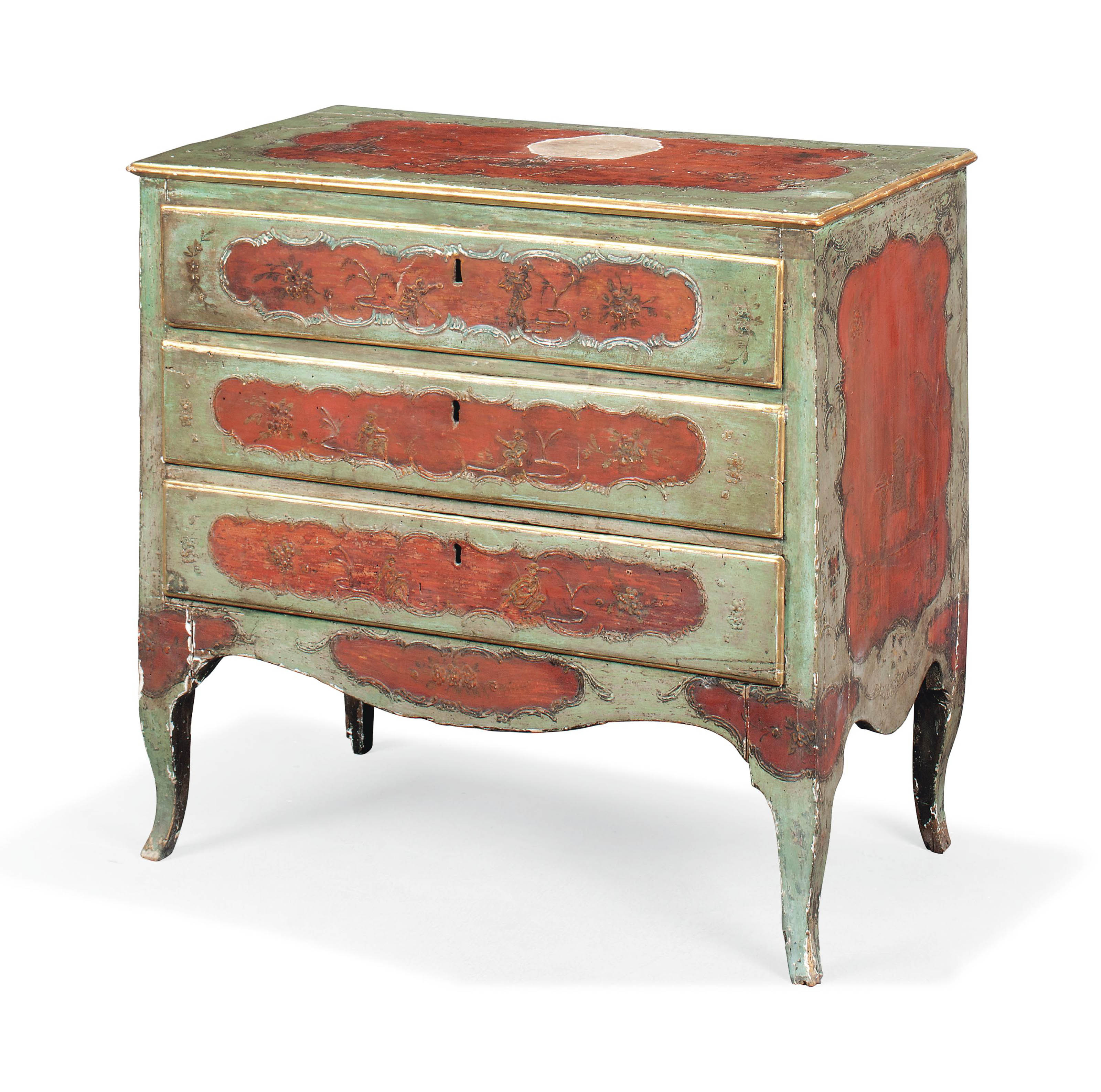 AN ITALIAN CHINOISERIE RED AND
