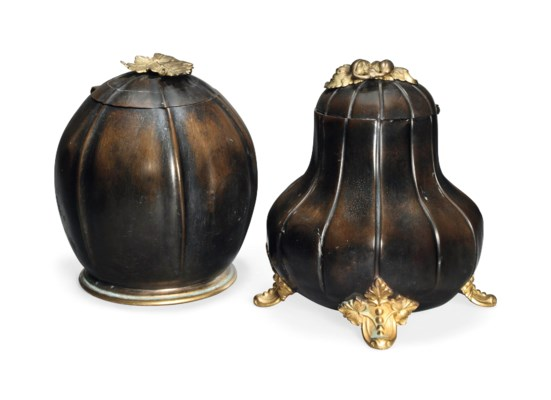 TWO VICTORIAN COPPER AND GILT