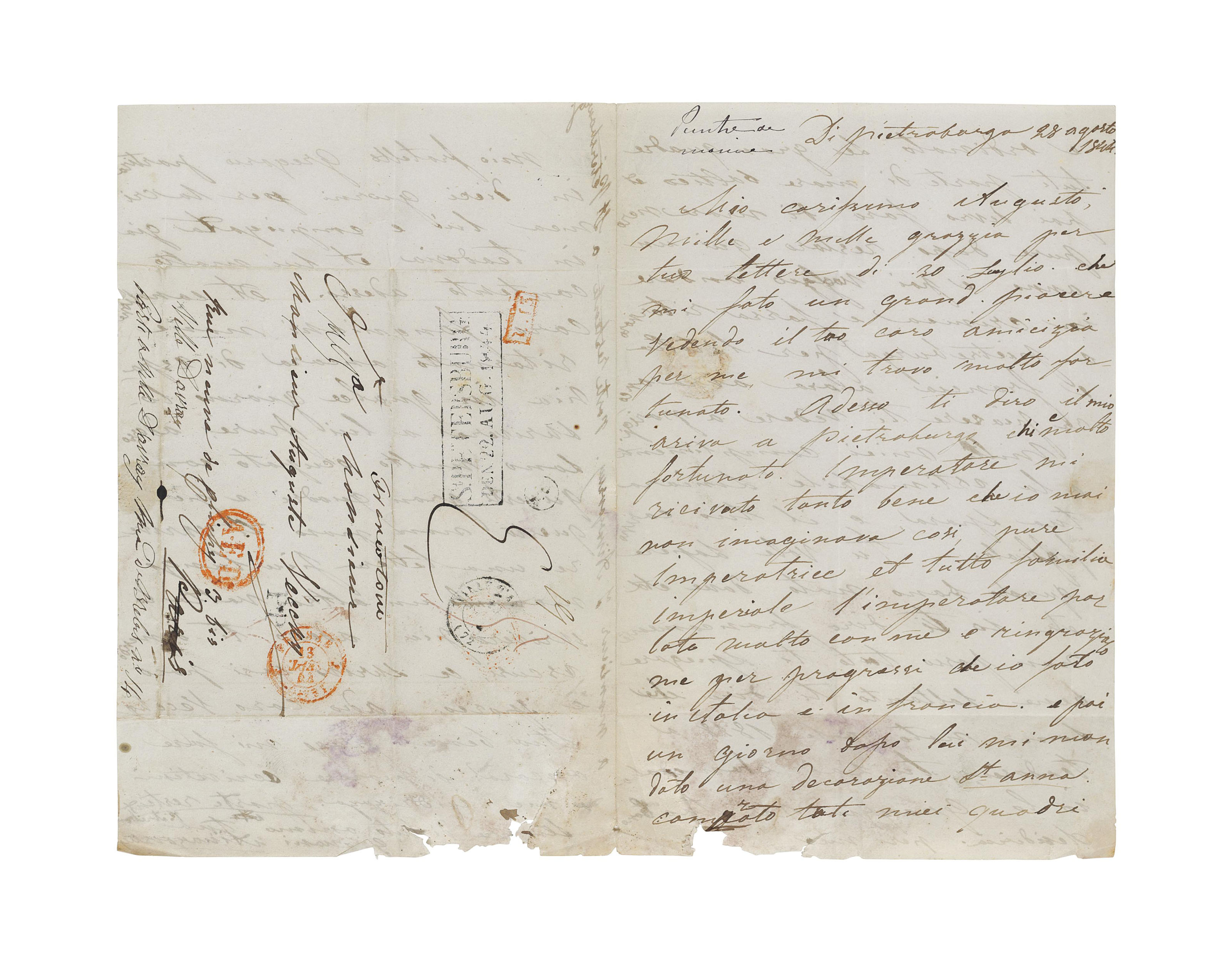 AIVAZOVKSY, Ivan (1817-1900). Autograph letter signed ('Giovani Aivazovsky') to Auguste Vecchy, St Petersburg, 28 August 1844, in eccentric Italian, 3 pages, 4to, integral address panel (old damp staining, causing wear at lower margin, with minor losses to text).
