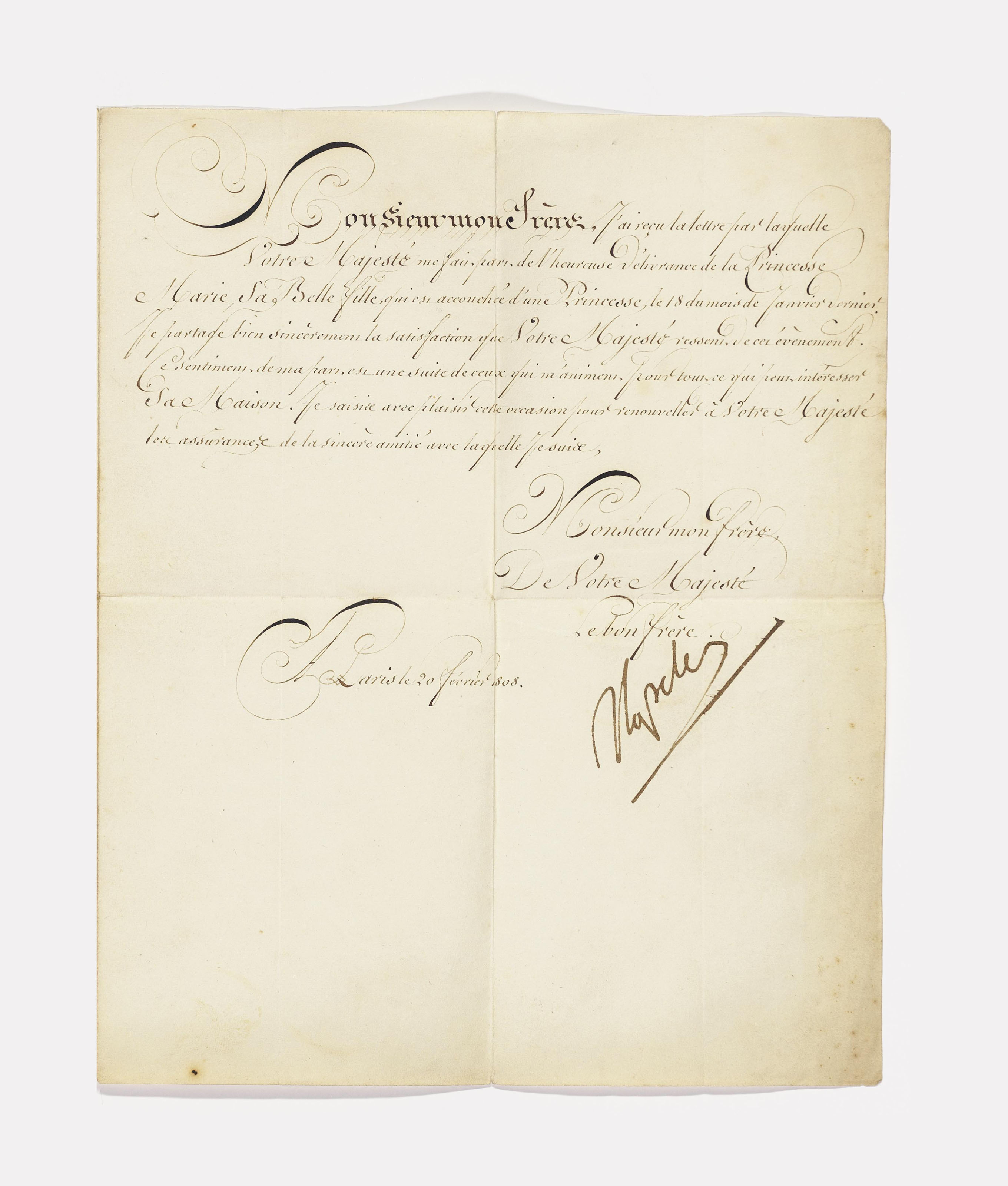 NAPOLEON I (1769-1821), Emperor of the French. Letter signed ('Napoleon') to Christian VII, King of Denmark, Paris, 20 February 1808, congratulating him on the birth of a granddaughter [Princess Vilhelmine Marie], one page, 4to, integral address leaf (minor discolouration, seal tear); with similar letters of courtesy to Frederick VI, King of Denmark, signed by Joseph Bonaparte as King of Naples and Sicily, 10 May 1808 (split through at centre fold), Louis Bonaparte as King of Holland, 22 September 1808, and Joachim Murat as King of Naples, 19 January 1811.	 (4)