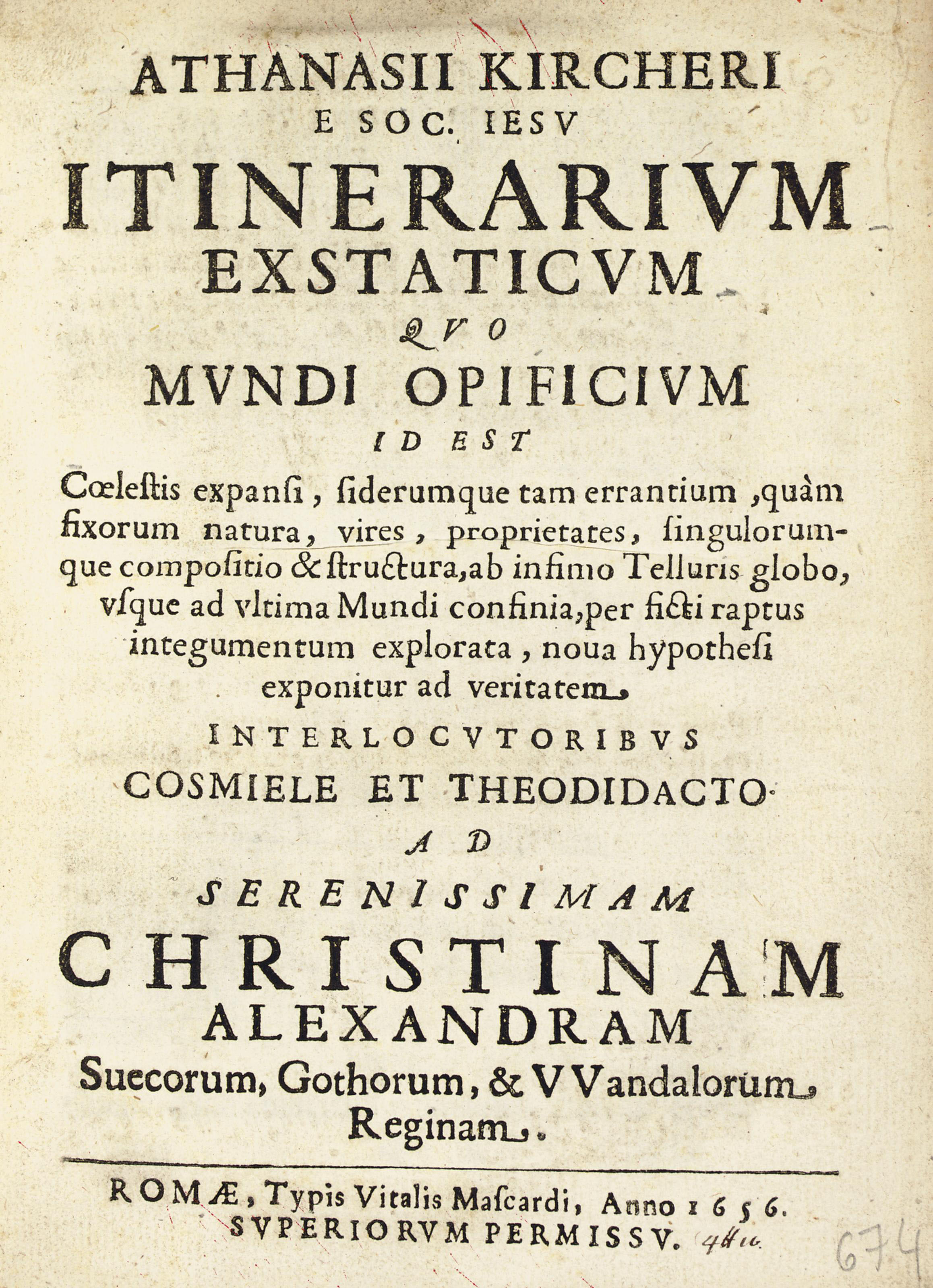 KIRCHER, Athanasius (1602-1680). Itinerarium exstaticum quo mundi opificium. Rome: Vitalis Mascardi, 1656. 4° (220 x 165 mm). Woodcut head- and- tail pieces and initials. (Light soiling to title.) 18th-century speckled calf, red speckled edges (rebacked to match, extremities lightly rubbed).