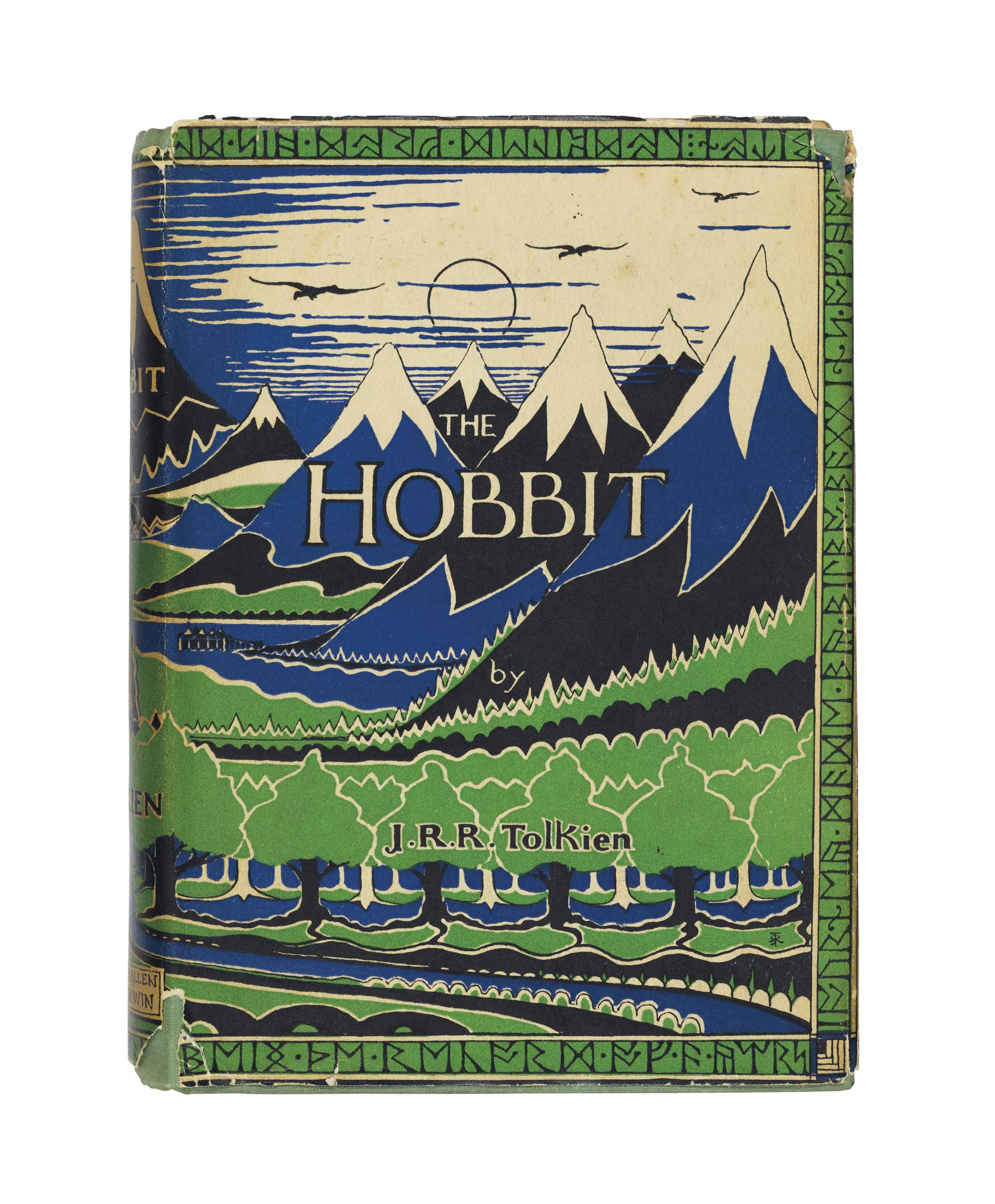 TOLKIEN, John Ronald Reuel (1892-1973). The Hobbit; or, There and Back Again. London: George Allen & Unwin Ltd., 1937. 8° (190 x132mm). Frontispiece and eight text illustrations by the author, inserted half-tone plate by the author, integral advertisement leaf at end. (Very faint scattered spotting to endpapers, front prelims, half-title and title, text-block fractionally split at gathering L, but the whole sound and clean.) Original publisher's light green cloth stamped in dark blue, off-white endpapers printed with Thror's map and a map of Wilderland in red and black after drawings by the author, top edge stained light green (top fore-corner of upper cover faintly bumped, faint spotting and dust-soiling to top edge), ORIGINAL PICTORIAL DUST-JACKET after a drawing by the author, with 'Dodgeson' corrected by hand on rear flap (price-clipped, edges frayed with associated small tears and chips to joints and top margin of rear cover, larger chipping to head and tail of spine, light