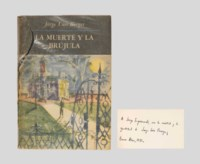 BORGES, Jorge Luis (1899-1986). La muerte y la brújula. Buenos Aires : Emecé, 1951. 8° (185 x 128mm). (Light scattered spotting on the edges.) Original illustrated wrappers printed in various colours, after F. Schonbach, protected by early, possibly original glassine tipped-in at pastedowns (glassine with long tear and small losses at the fold of the front panel and spine, wrapper edges with light wear); modern case, probably by Cambras but unsigned, covered in various coloured papers. Provenance: Jorge Luis Borges (presentation inscription to:) -- Jorge Iaquinandi (graphic designer).
