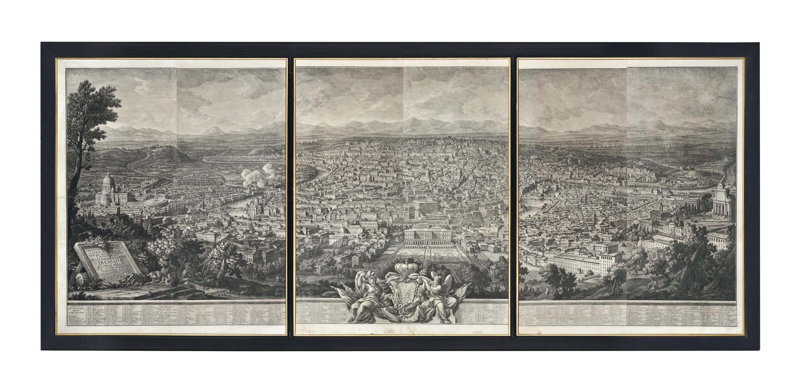 Prospetto del 'Alma Cittá di Roma visto dal Monte Gianicolo