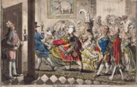 """A Collection of Caricatures including: The Bridal Night; The State Waggnoer, and John Bull; Meeting of the Monied Interest; Peace!! or More Experiments on John Bull; """"A Portrait""""; Wide Awake; Venus attired by the Graces; What Can Little T.O. do? - why drive a Phaeton and Two!! - Can little T.O. do no more? - yes, drive a Phaeton and Four!!!! and Farmer Giles & his wife shewing off their daughter Betty to their neighbours on her return to school"""