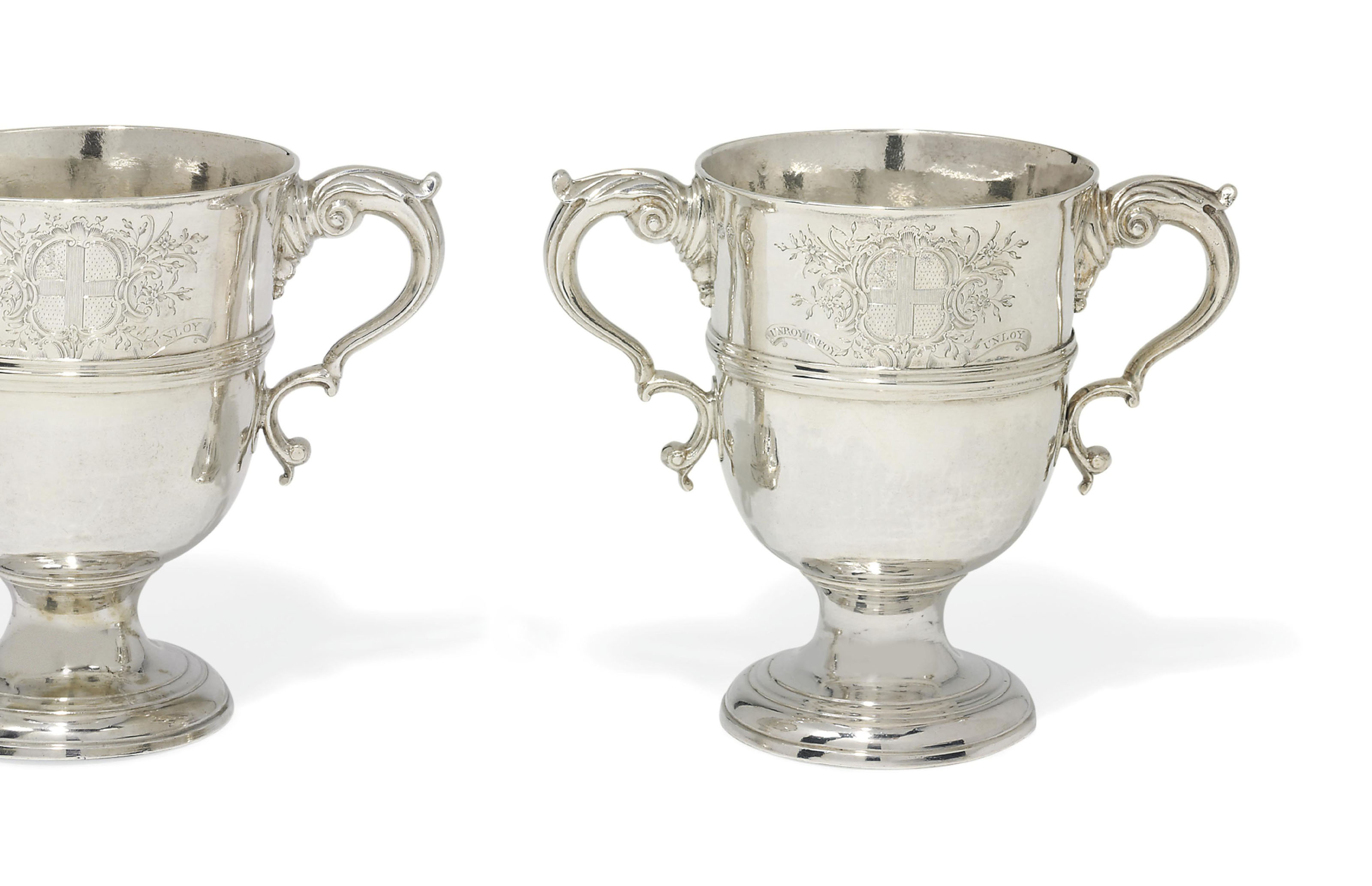 A PAIR OF GEORGE III IRISH SILVER TWO-HANDLED CUPS