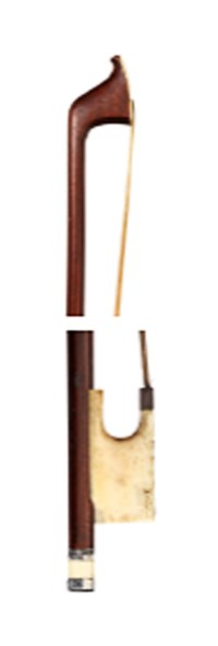 A GEORGE III SILVER AND IVORY-MOUNTED VIOLONCELLO BOW