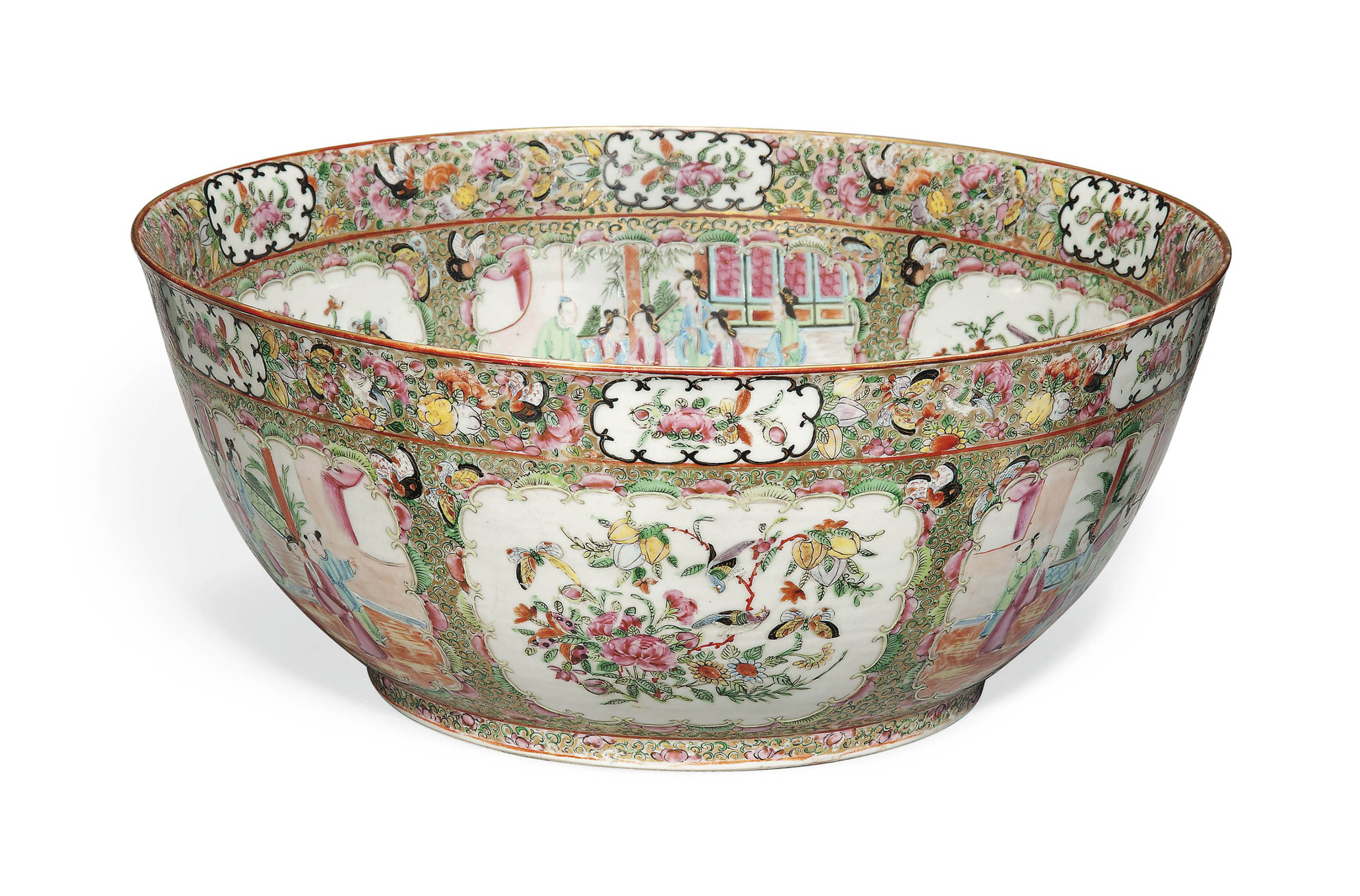 A LARGE CANTONESE FAMILLE ROSE BOWL