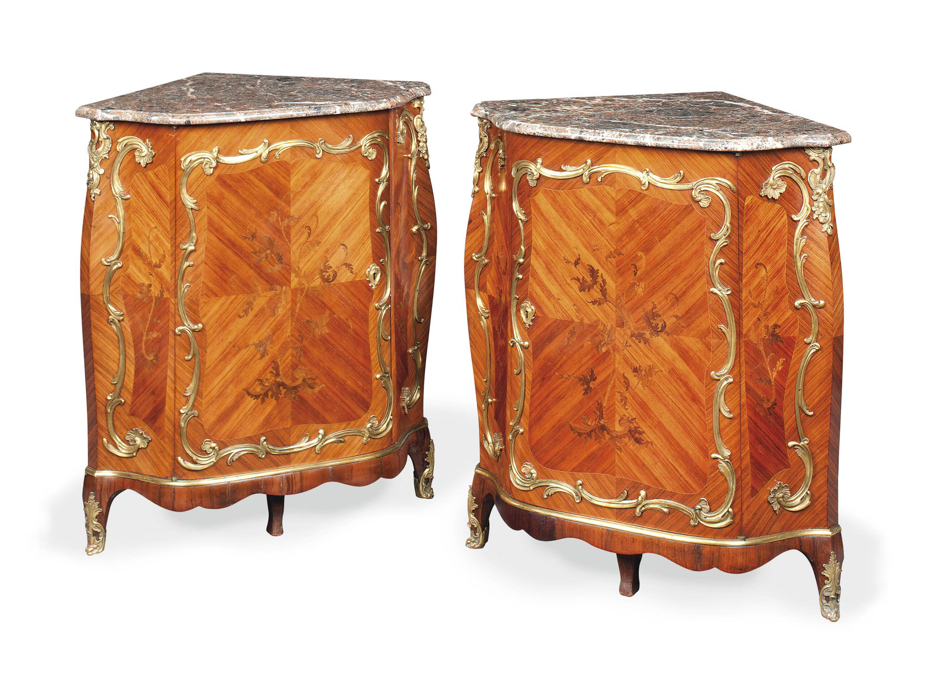 A PAIR OF VICTORIAN ORMOLU-MOUNTED KINGWOOD, TULIPWOOD AND BOIS-DE-BOUT MARQUETRY ENCOIGNURES