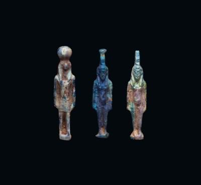 THREE EGYPTIAN IRIDESCENT BLUE