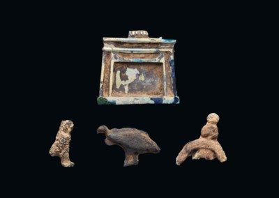 FOUR EGYPTIAN GLASS AMULETS