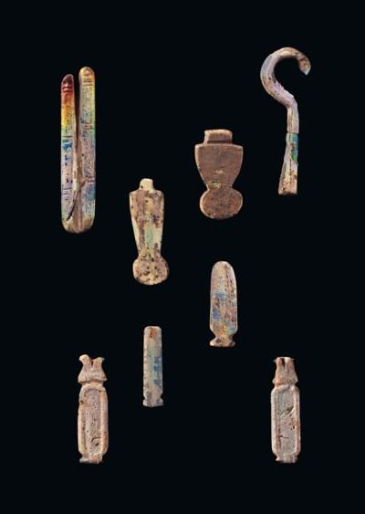 EIGHT EGYPTIAN IRIDESCENT GLAS