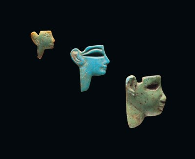 THREE EGYPTIAN TURQUOISE AND B