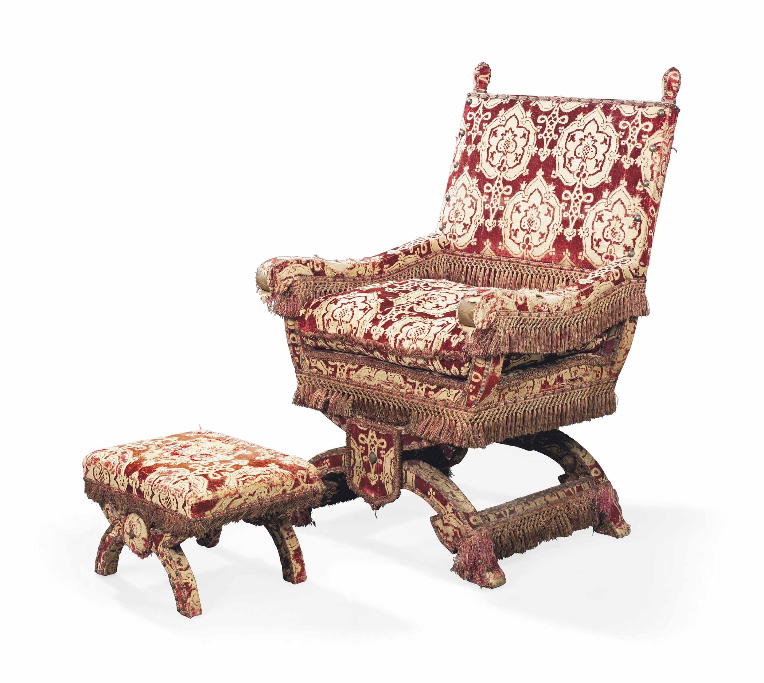 A CRIMSON SILK-DAMASK THRONE C