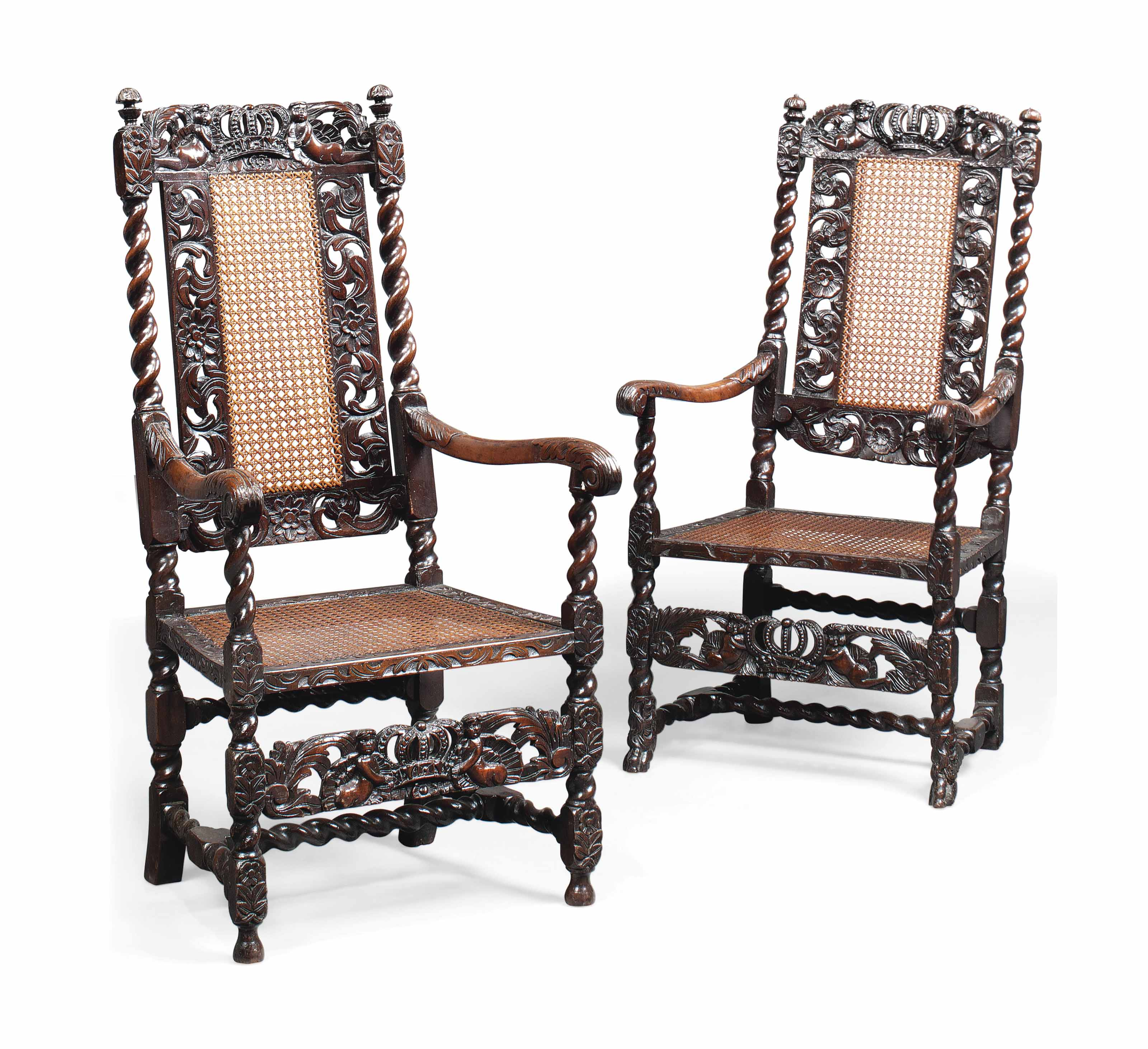 A MATCHED PAIR OF WILLIAM III WALNUT ARMCHAIRS