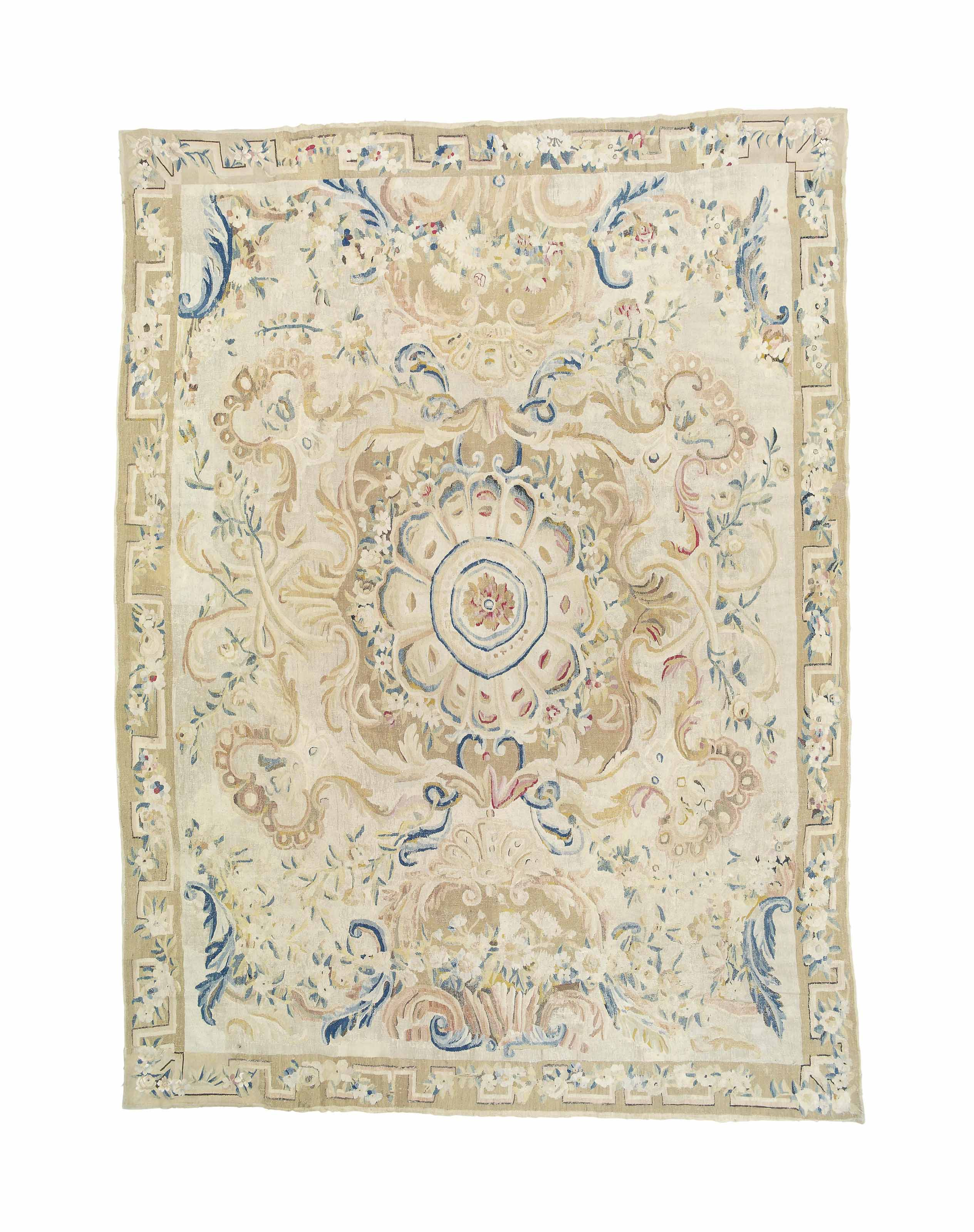 An antique Aubusson carpet