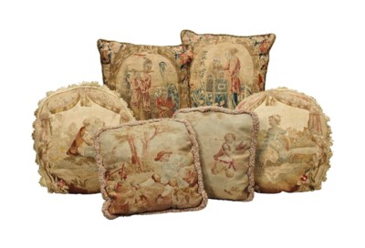 THREE PAIRS OF TAPESTRY CUSHIO