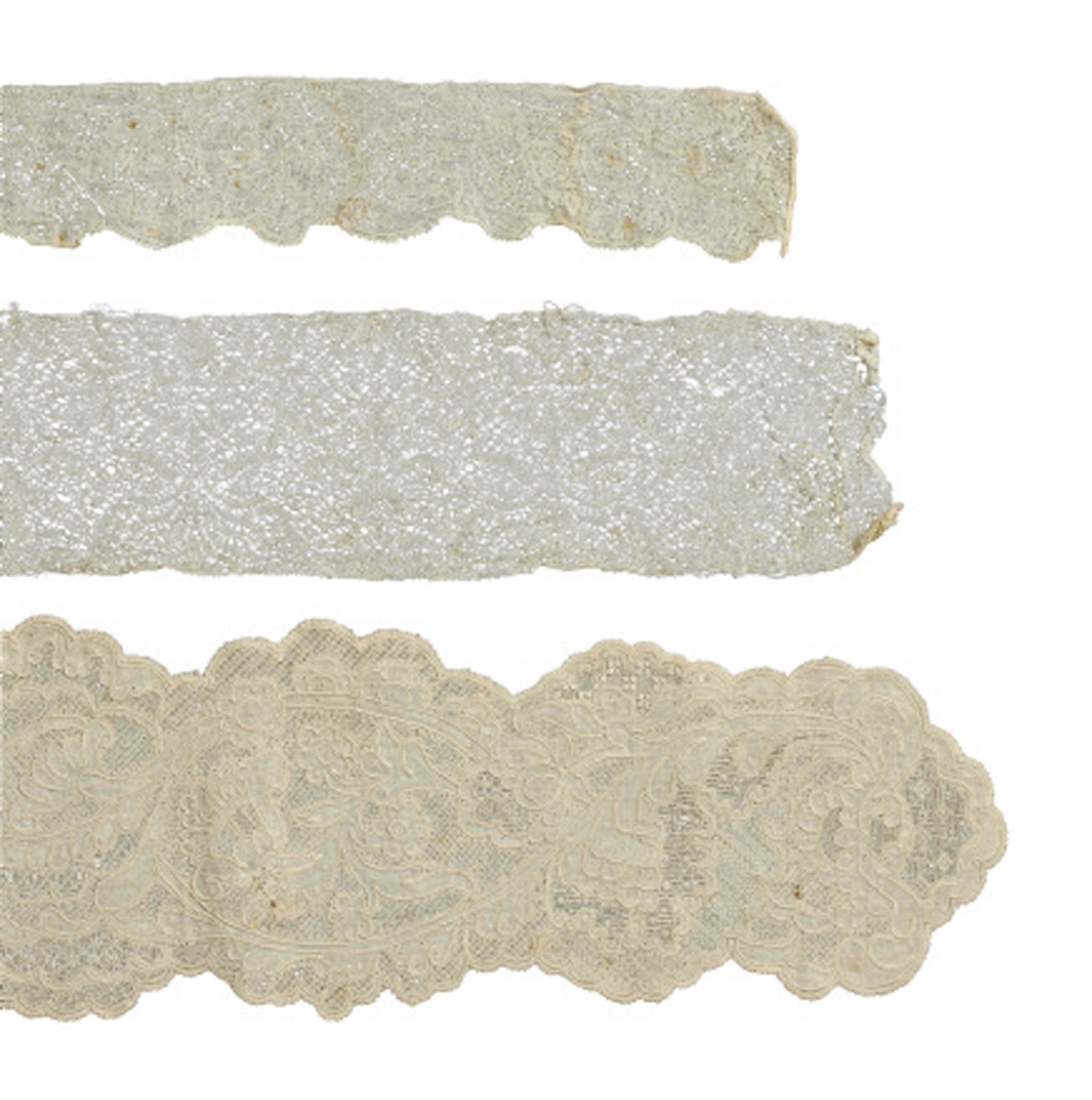 A PAIR OF WHITEWORK LAPPETS