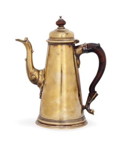 A GEORGE II BRASS COFFEE POT