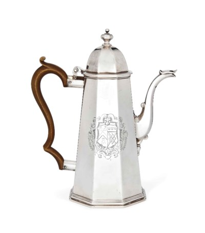 AN OCTAGONAL SILVER COFFEE POT