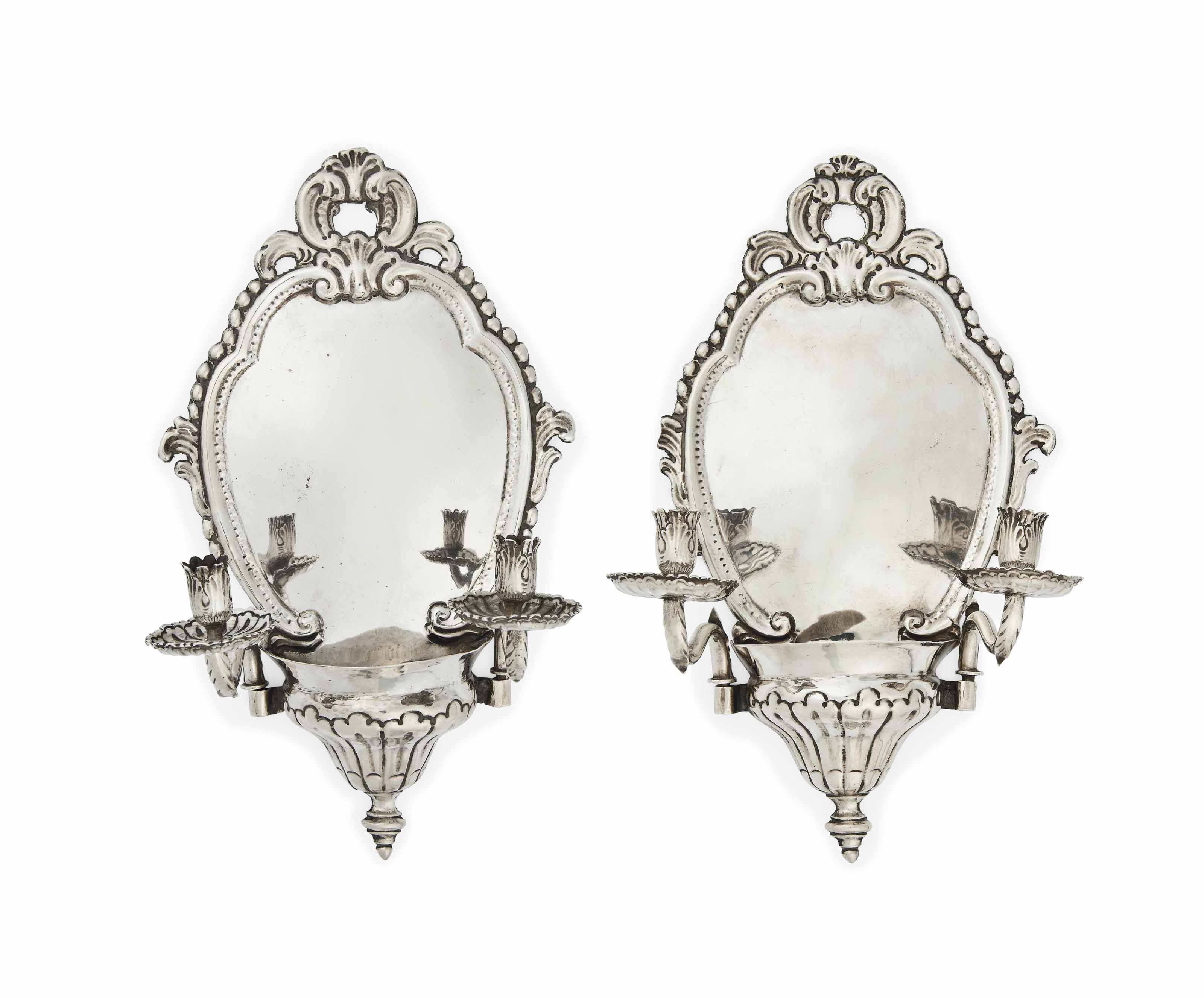 A PAIR OF ITALIAN SILVER WALL SCONCES