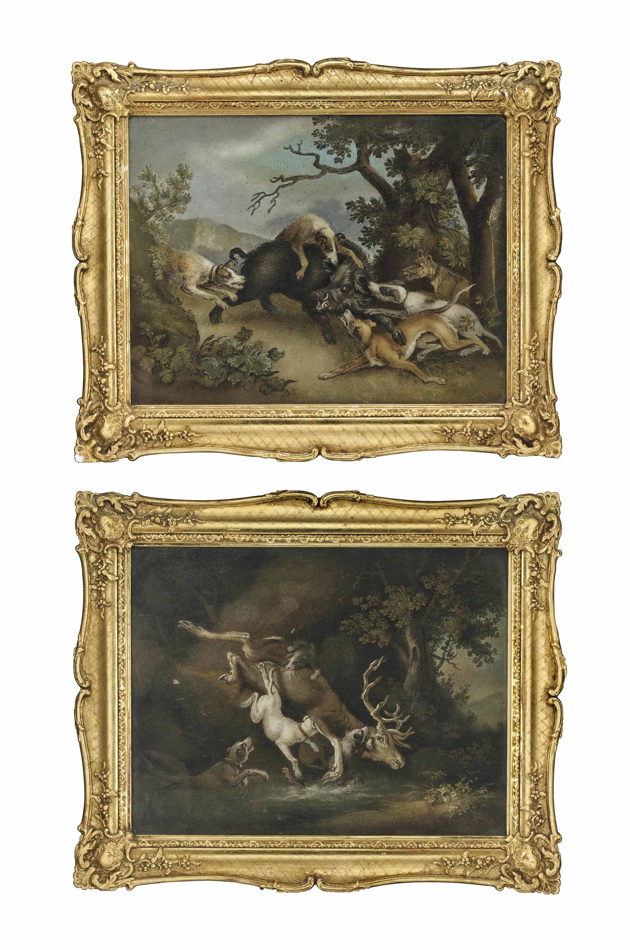 A PAIR OF REGENCY SAND PICTURES OF HUNTING SCENES