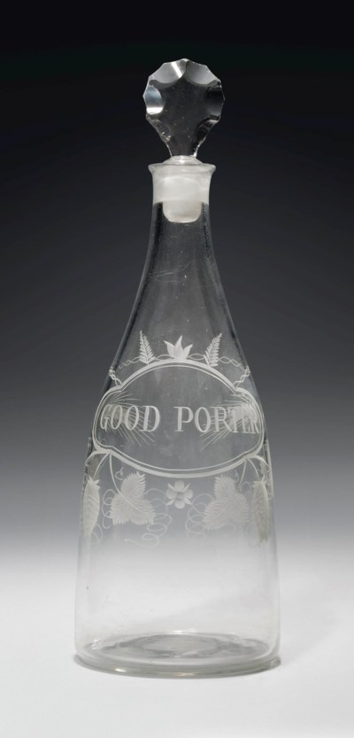 AN ENGRAVED GLASS PORTER DECAN