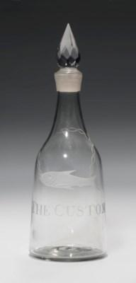 AN ENGRAVED GLASS SPIRIT DECAN