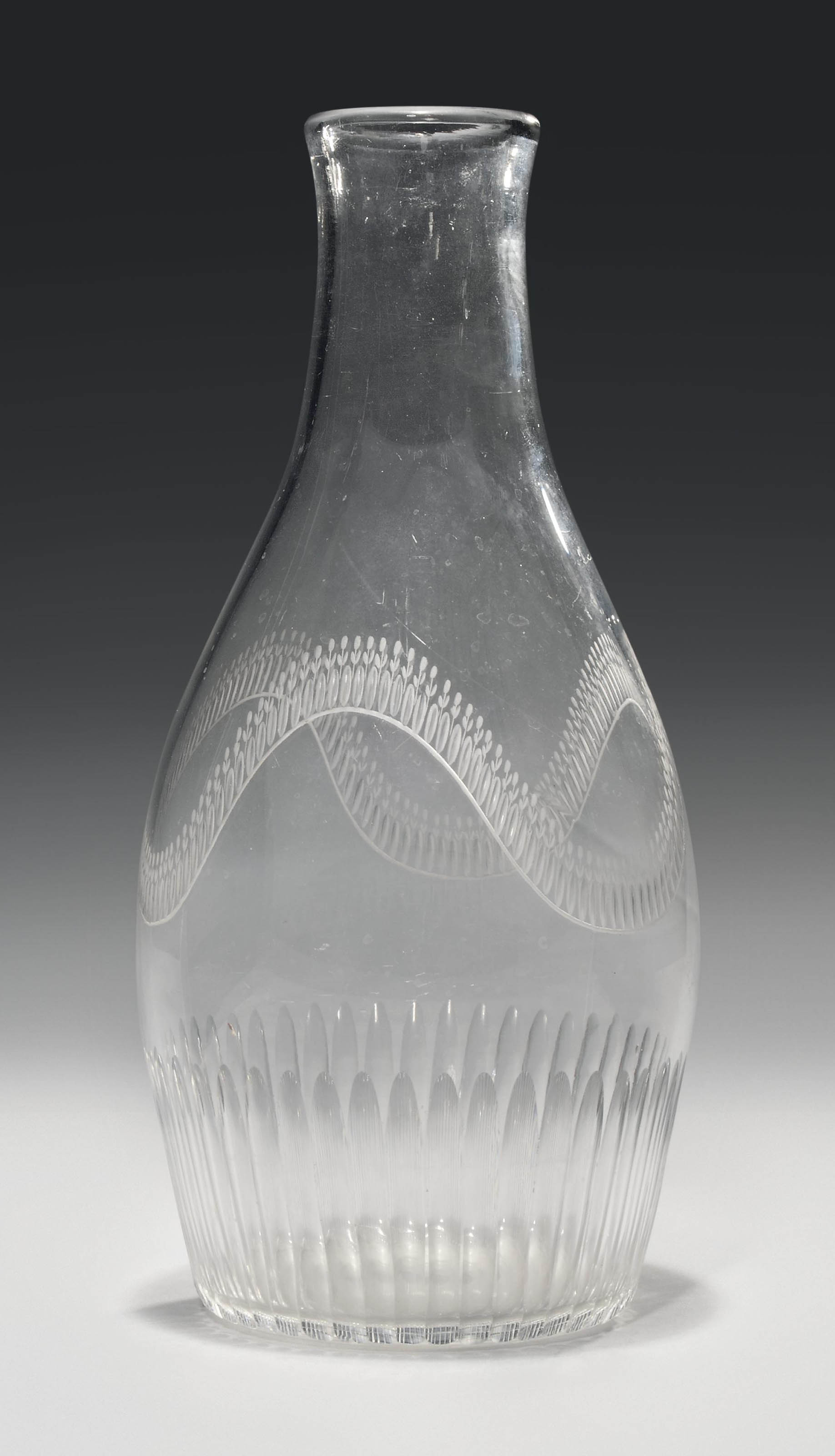 A CUT AND ENGRAVED GLASS LARGE
