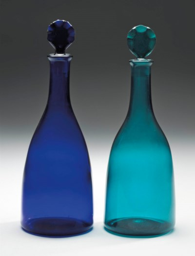 TWO COLOURED GLASS DECANTERS A