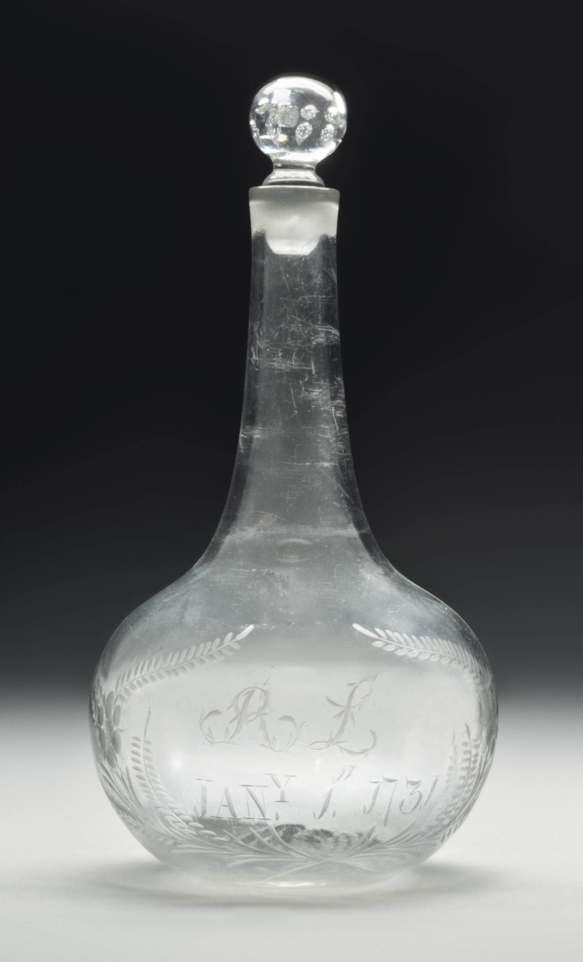 AN ENGLISH GLASS DATED ENGRAVE