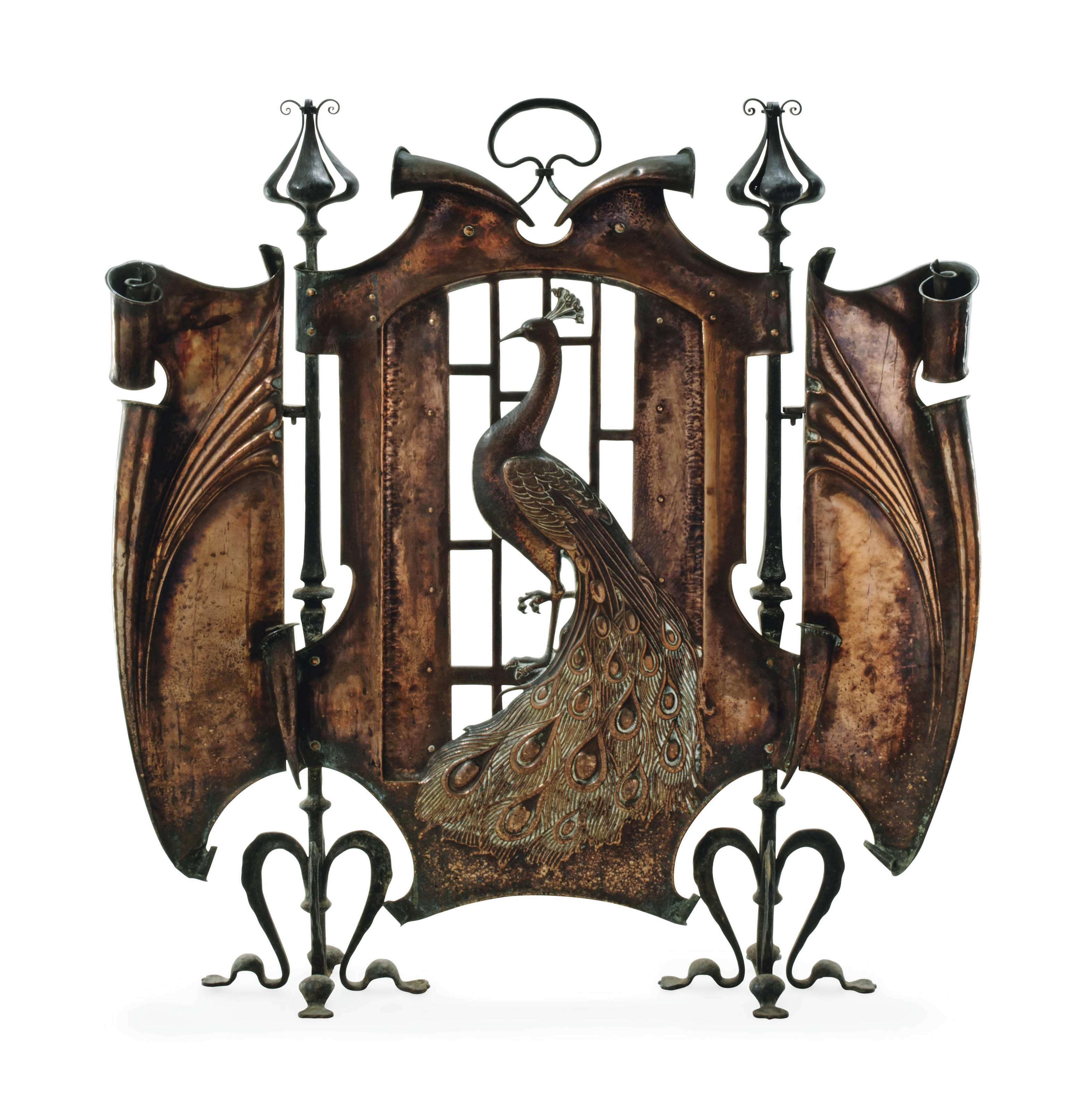 AN ARTS AND CRAFTS COPPER AND WROUGHT-IRON FIRESCREEN