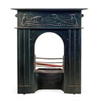 A C. F. A. VOYSEY (1857-1941) CAST-IRON FIRE-SURROUND DECORATED WITH CROWS