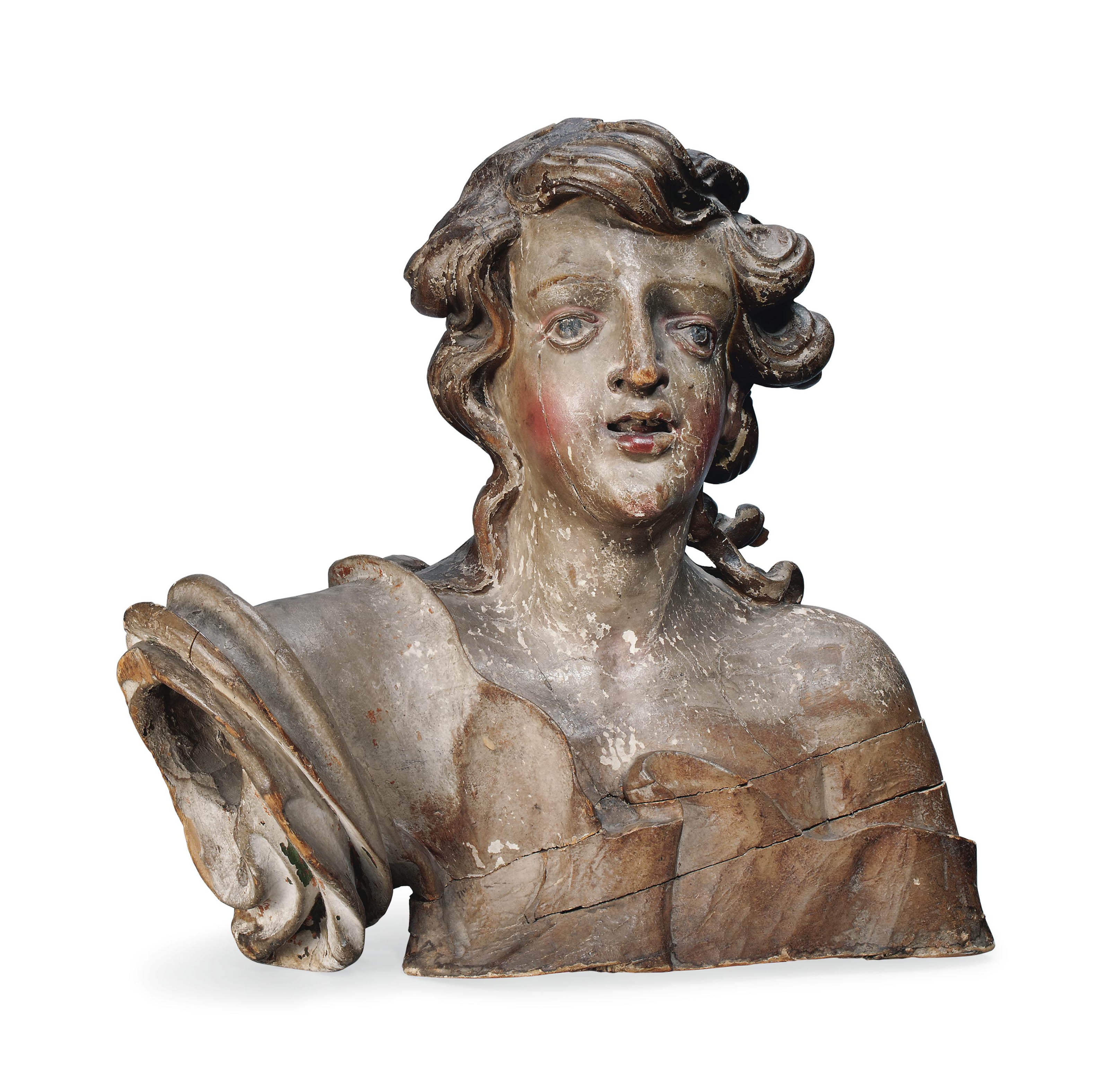 AN ITALIAN CARVED WOOD AND POLYCHROME BUST OF AN ANGEL