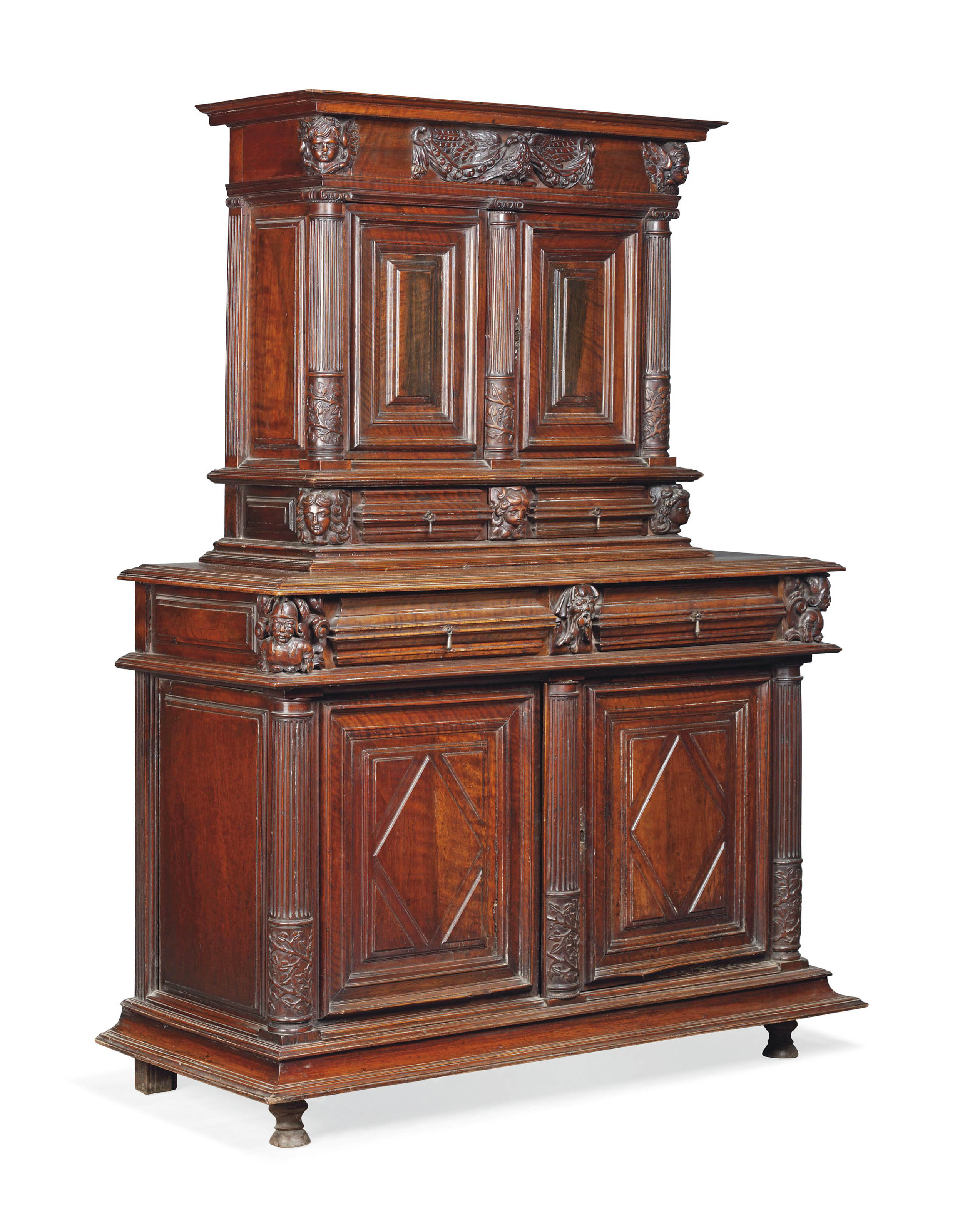 A FRENCH WALNUT BUFFET A DEUX CORPS