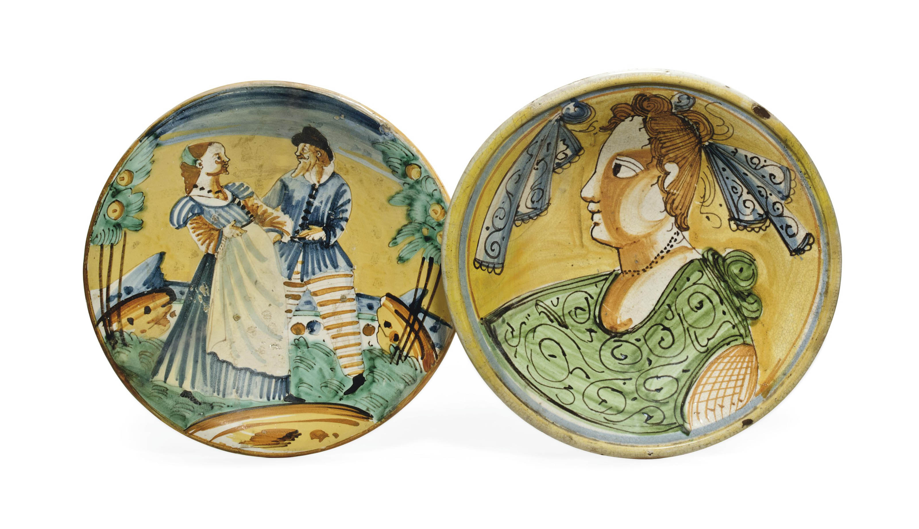 TWO MONTELUPO MAIOLICA DISHES