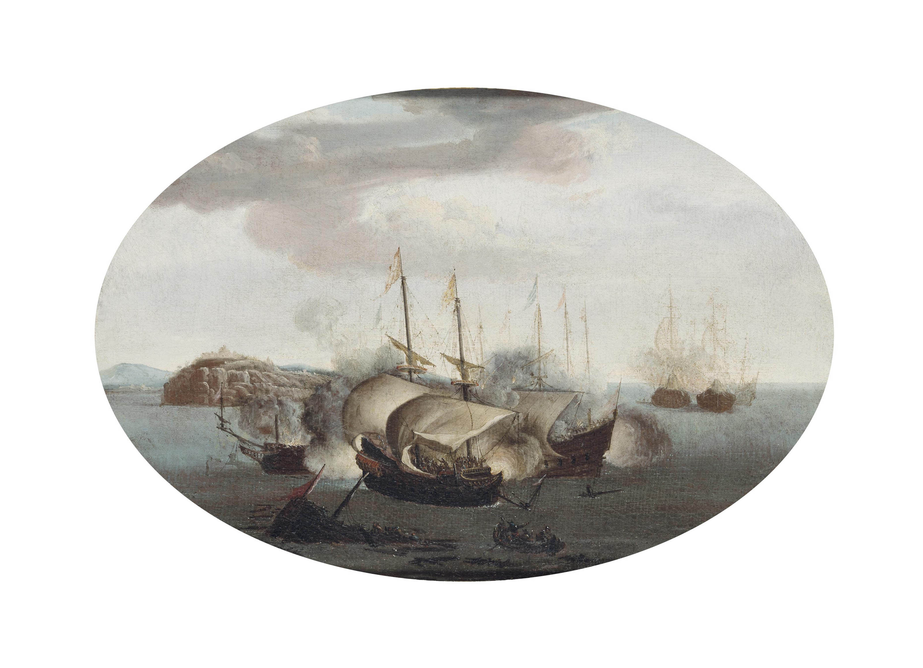 Sea piece, thought to be the battle of Cádiz