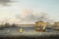 The Blue Squadron of His Majesty's Fleet entering Havana harbour to take possession on 16th August 1762, led by H.M.S. Valiant commanded by the Honourable Augustus Keppel