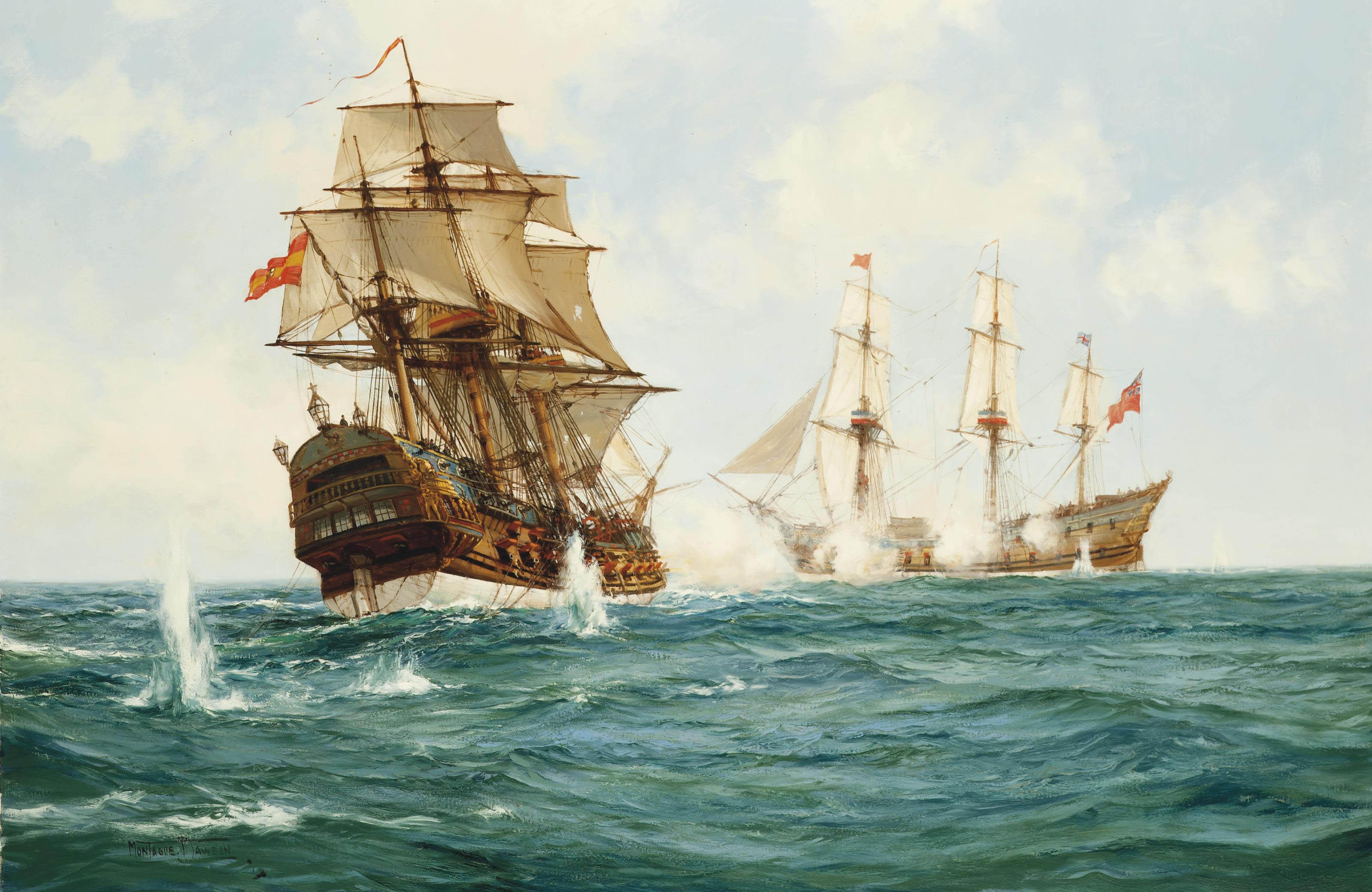 H.M.S. Centurion capturing the Spanish treasure galleon Nuestra Senora de Cavadonga off the Phillippines, 20th June 1743