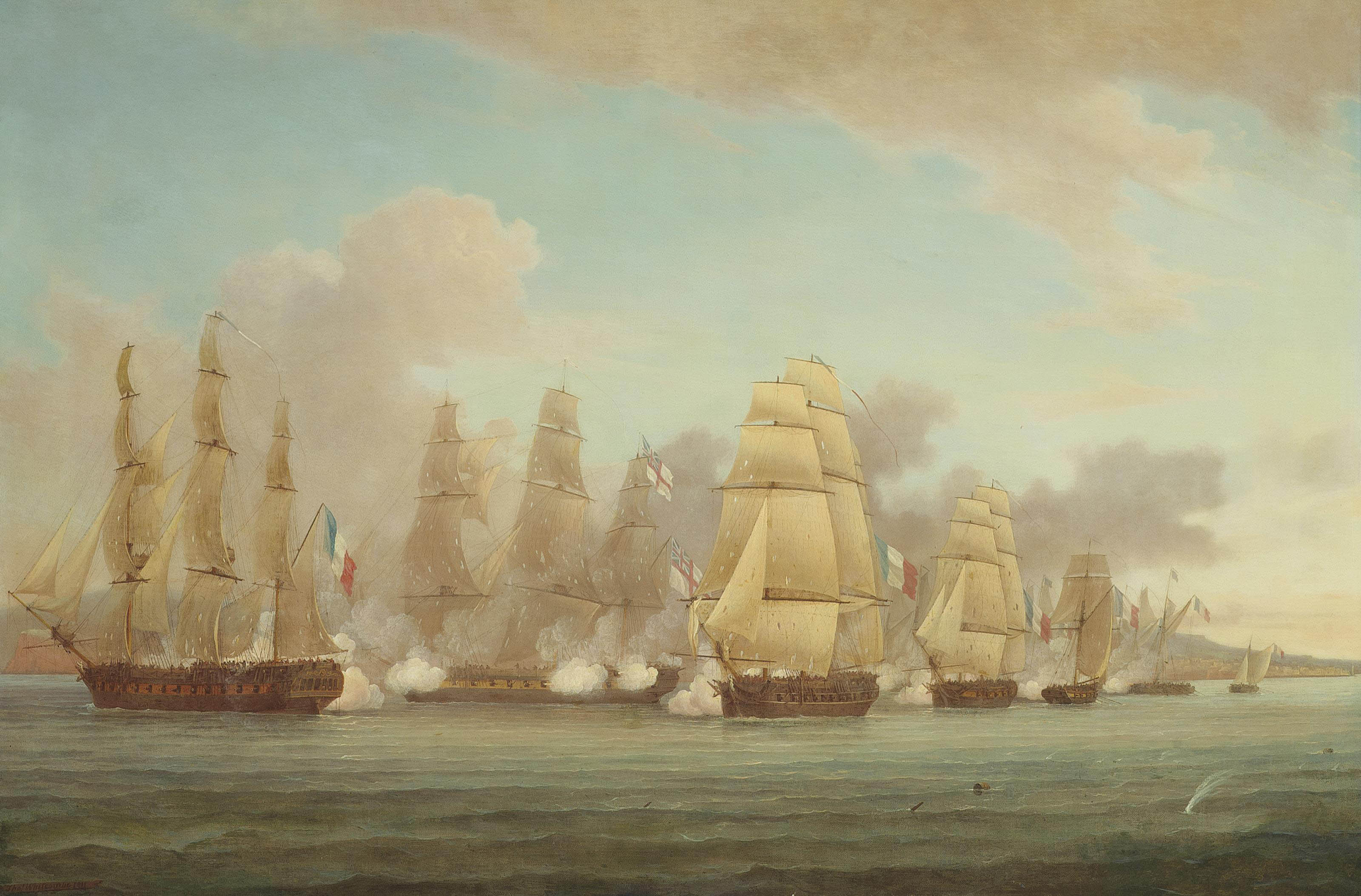 H.M.S. Spartan engaging a French squadron in the Bay of Naples and capturing the brig Sparvière, 3rd May 1810