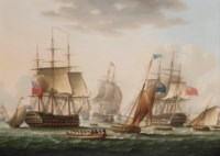 Napoleon being transferred from H.M.S. Bellerophon to H.M.S. Northumberland off Plymouth, on 7th August 1815, for his final voyage to St. Helena
