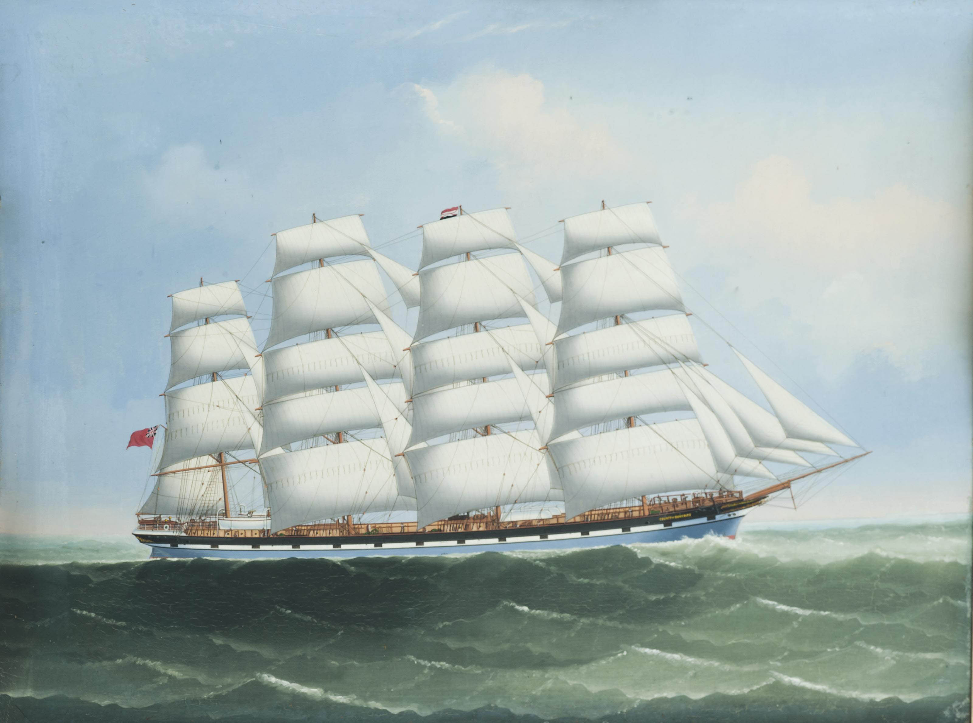 The British four-master County of Dumfries under full sail