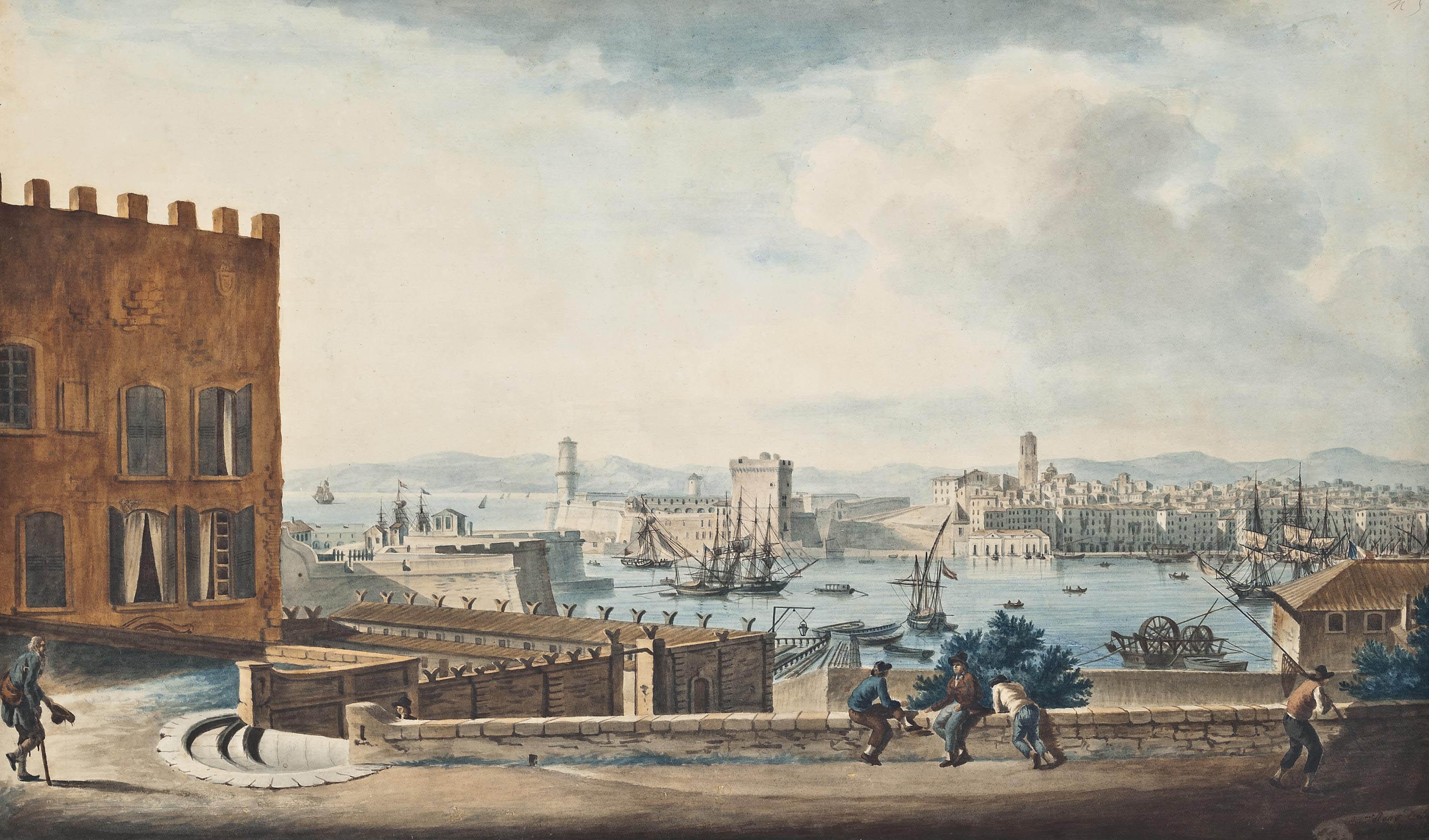 Vué de l'Entree du Port de Marseille, prise Place de l'Abbaye, Saint Victor