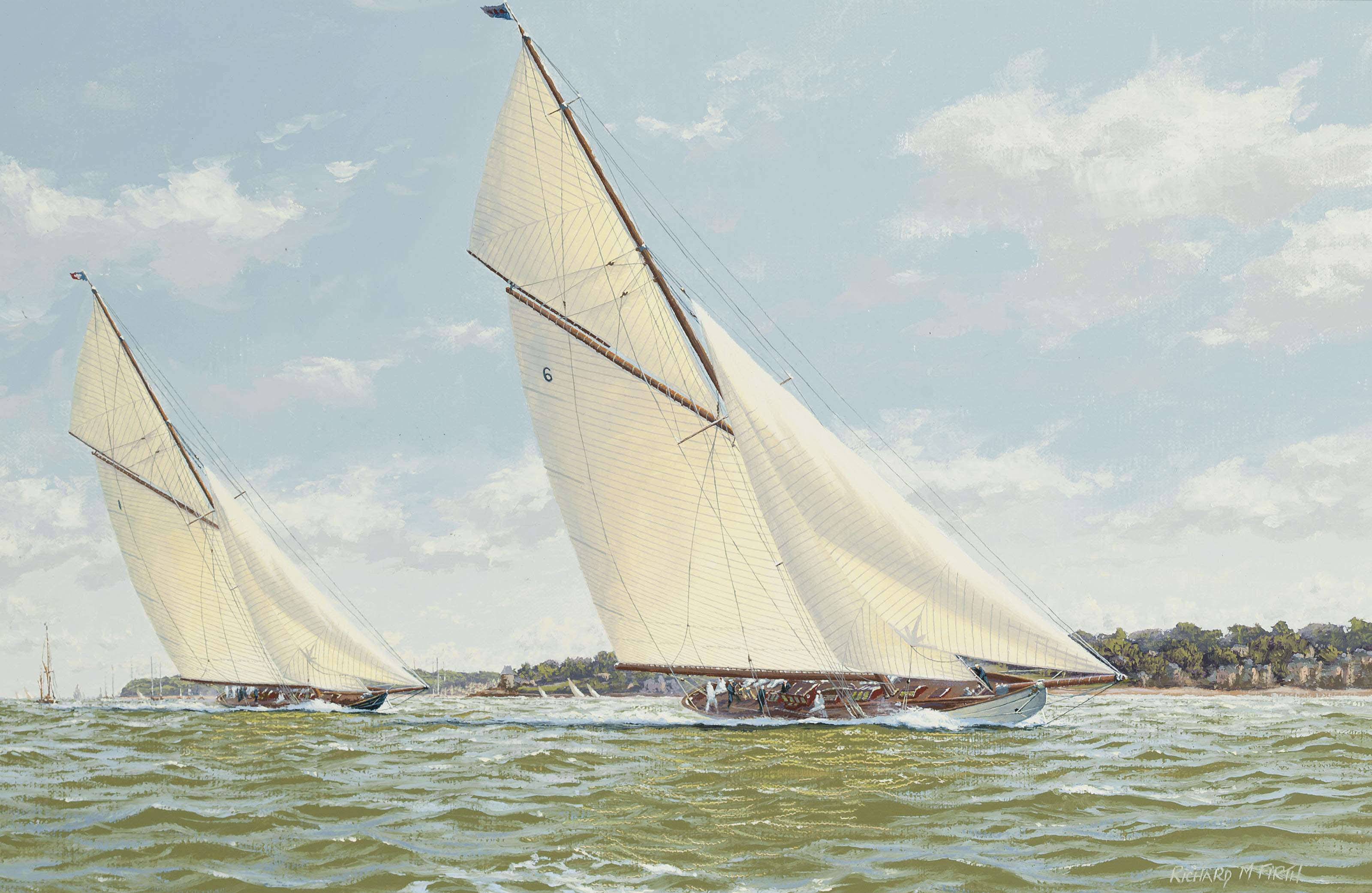 Lulworth and Britannia powering to windward off Cowes