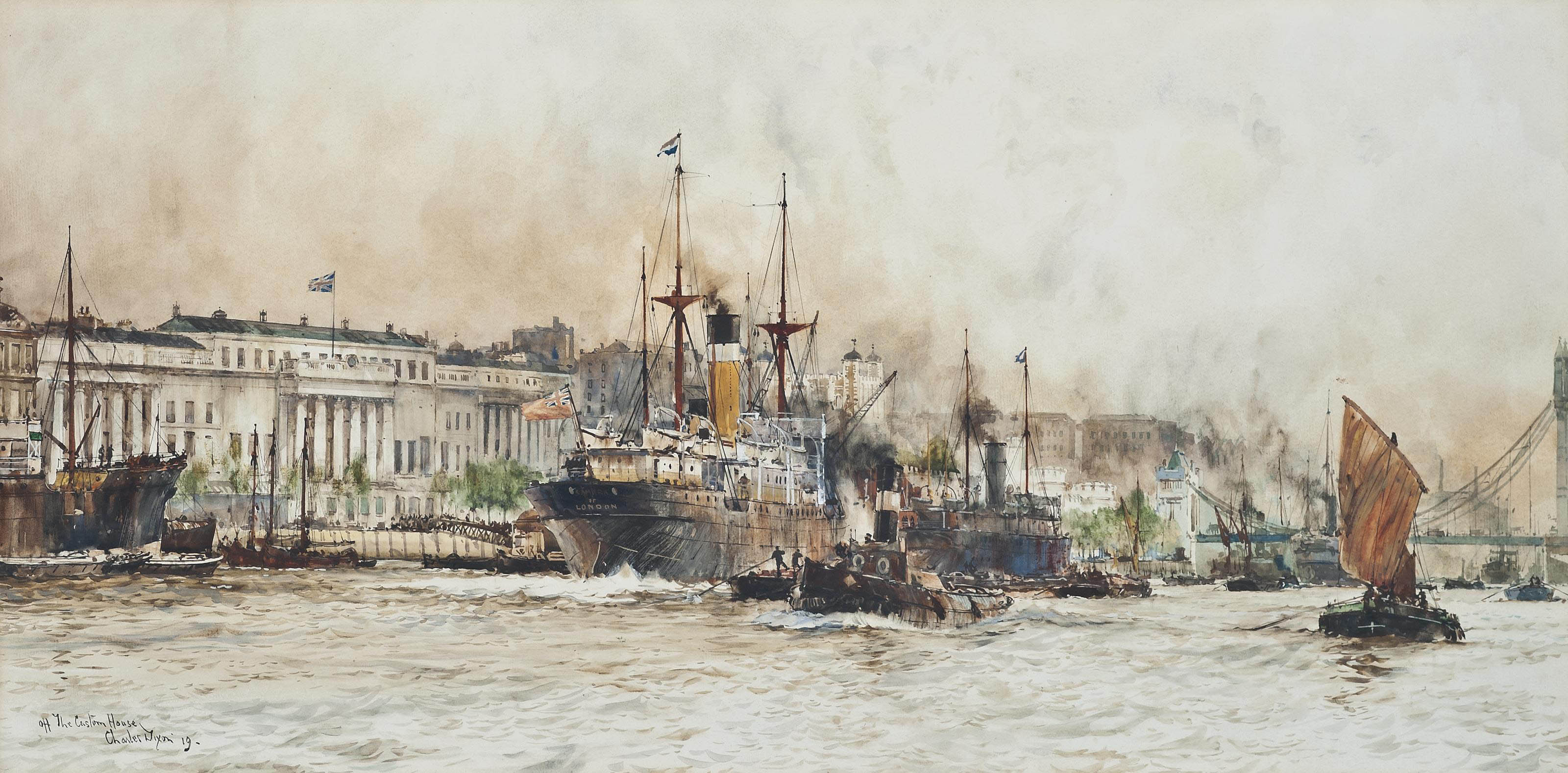 The Samara and other shipping off the Custom House, London