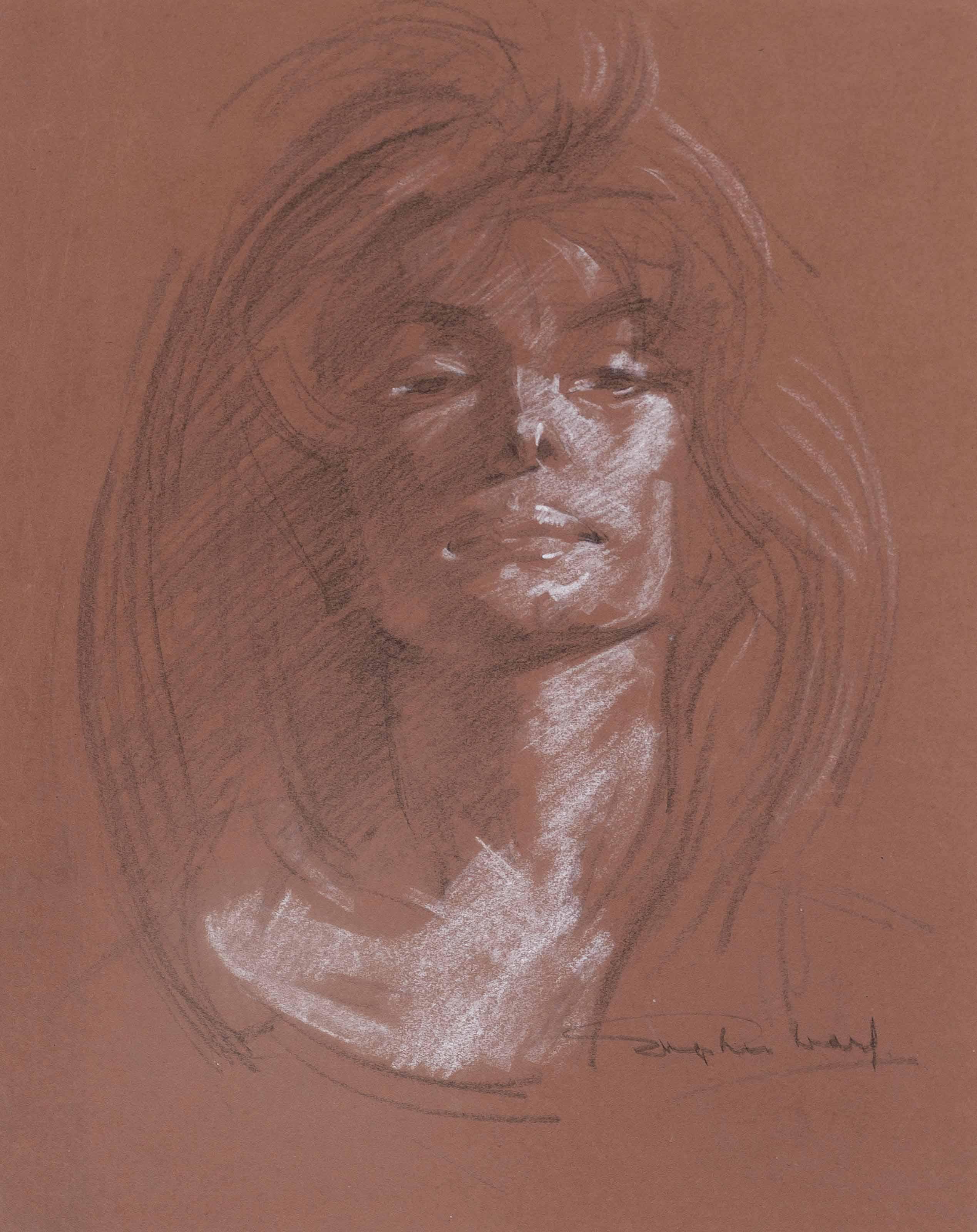 Six portrait studies of Adele de Havilland (one illustrated)