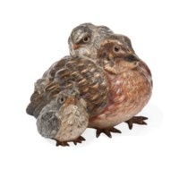 AN AUSTRIAN COLD-PAINTED BRONZE GROUP OF A BIRD WITH THREE CHICKS