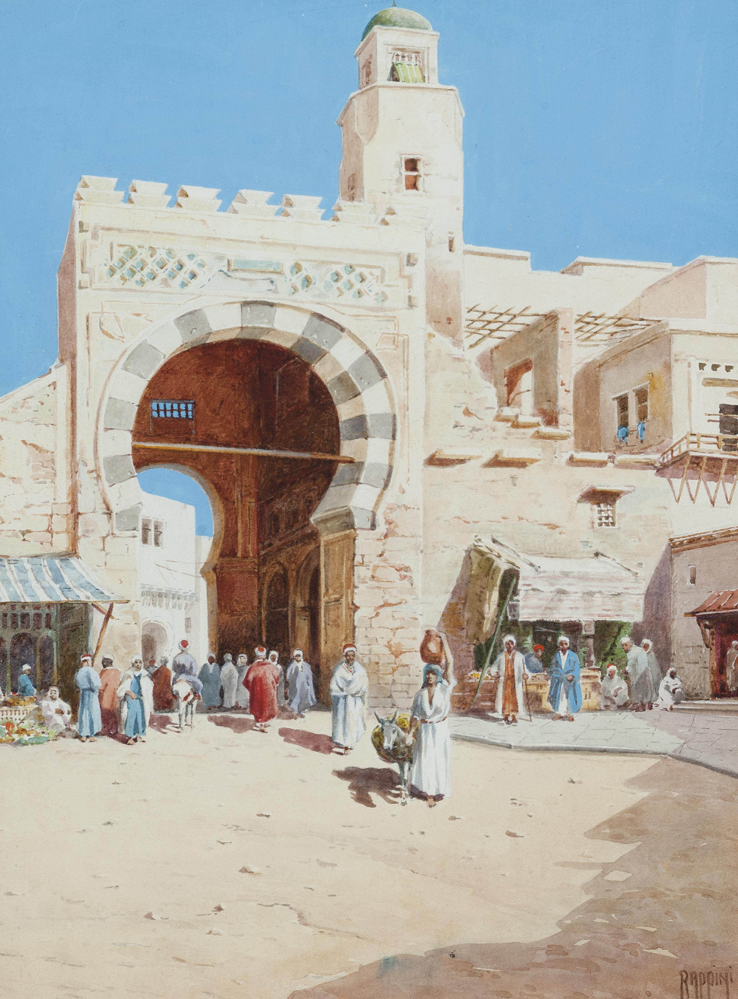 Arabs at the entrance to a walled city
