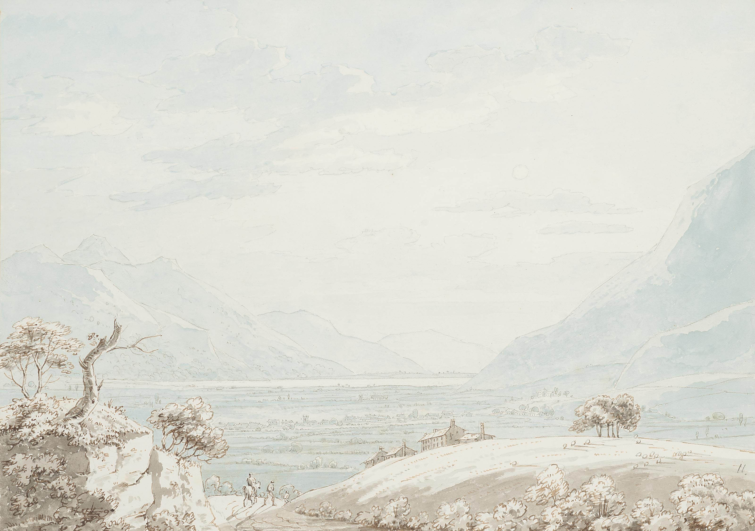 Travellers on a country lane overlooking a valley