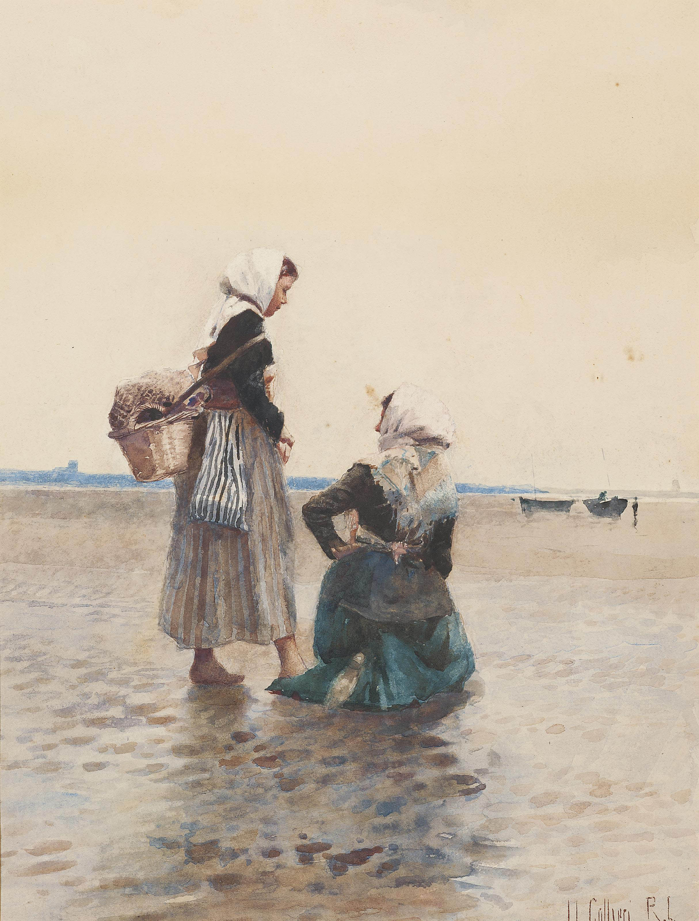 Two fisherwomen on the beach at low tide (illustrated); and Two young boys in a dinghy on a calm day